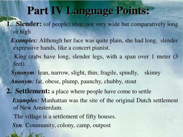 Part IV Language Points:
