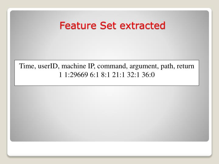 Time, userID, machine IP, command, argument, path, return