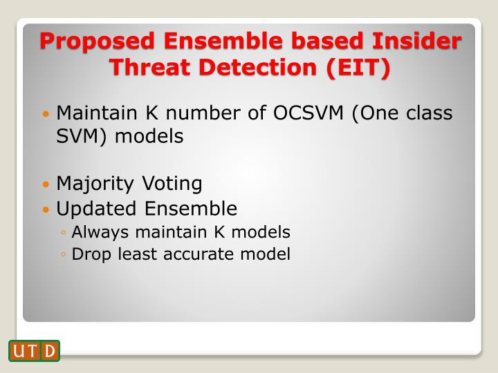 Maintain K number of OCSVM (One class SVM) models