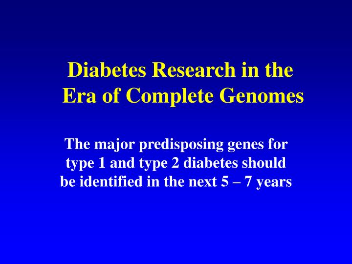 Diabetes Research in the