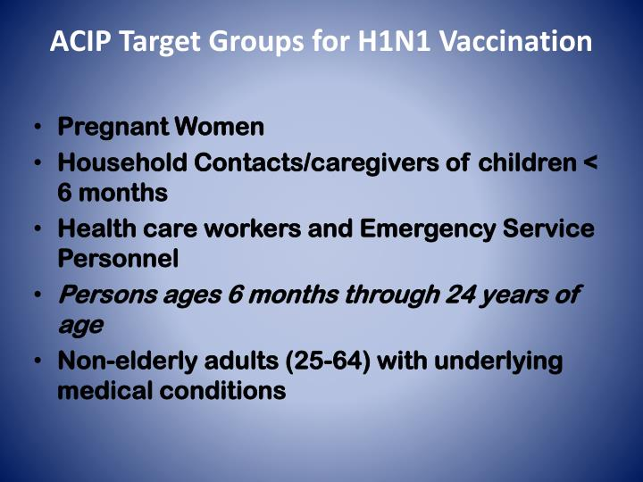 ACIP Target Groups for H1N1 Vaccination