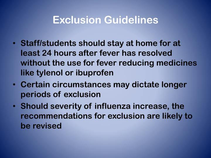 Exclusion Guidelines