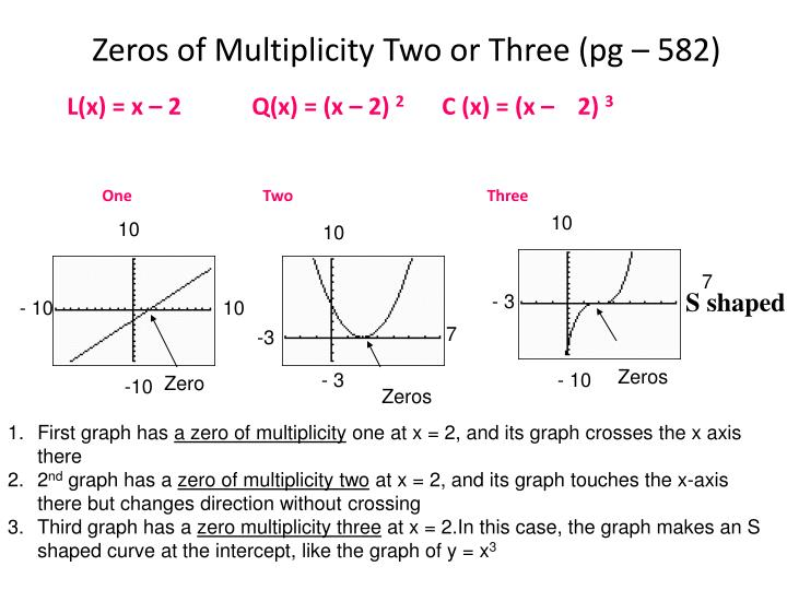 Zeros of Multiplicity Two or Three (pg – 582)