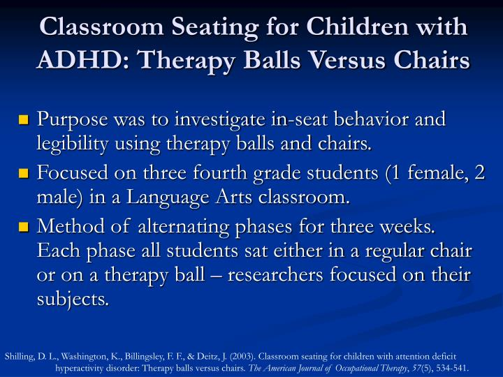 Classroom Seating for Children with ADHD: Therapy Balls Versus Chairs