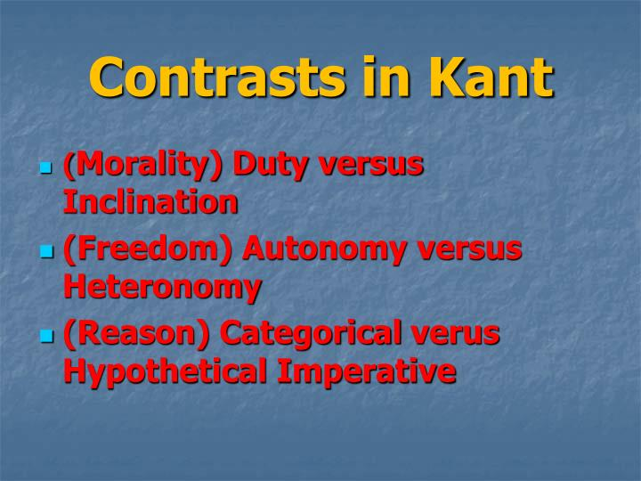 Contrasts in Kant