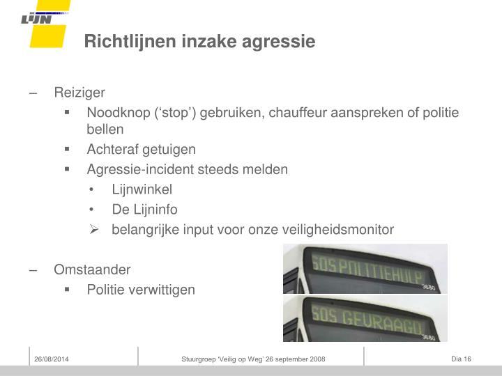 Richtlijnen inzake agressie