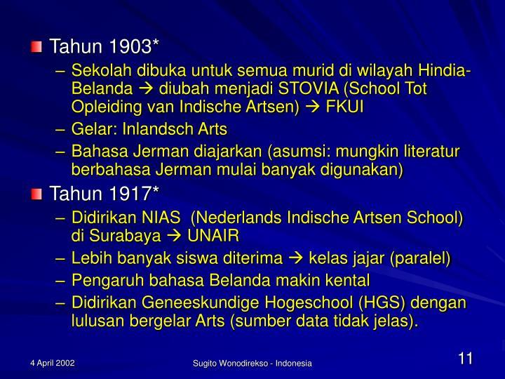 Tahun 1903*
