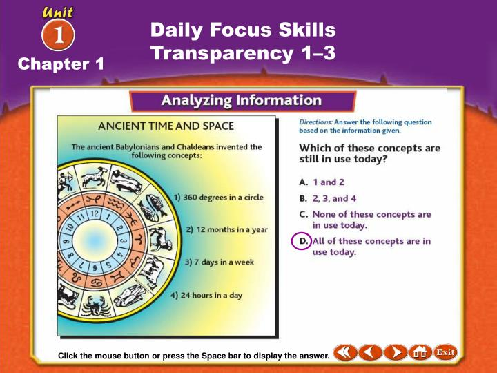 Daily Focus Skills Transparency 1–3