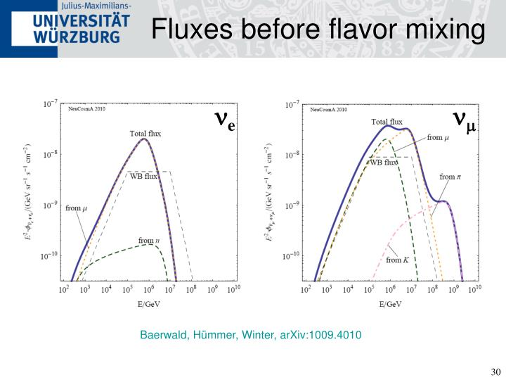 Fluxes before flavor mixing