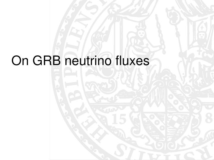 On GRB neutrino fluxes