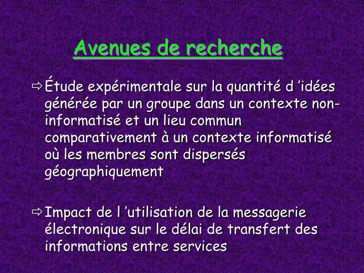Avenues de recherche