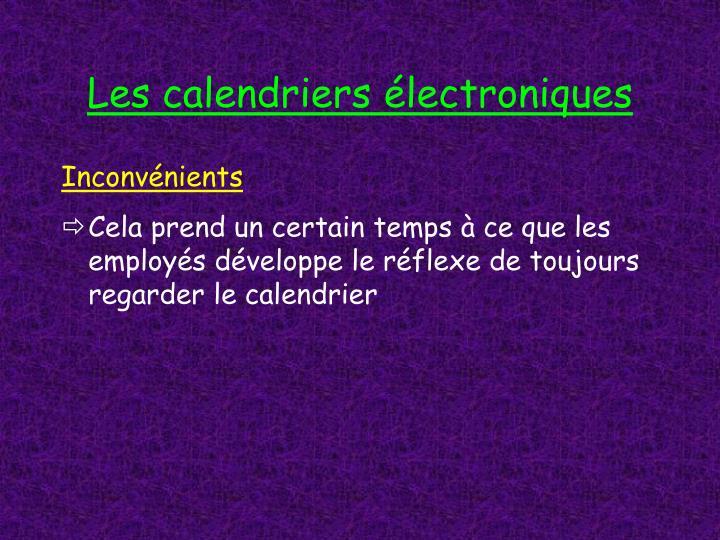 Les calendriers électroniques
