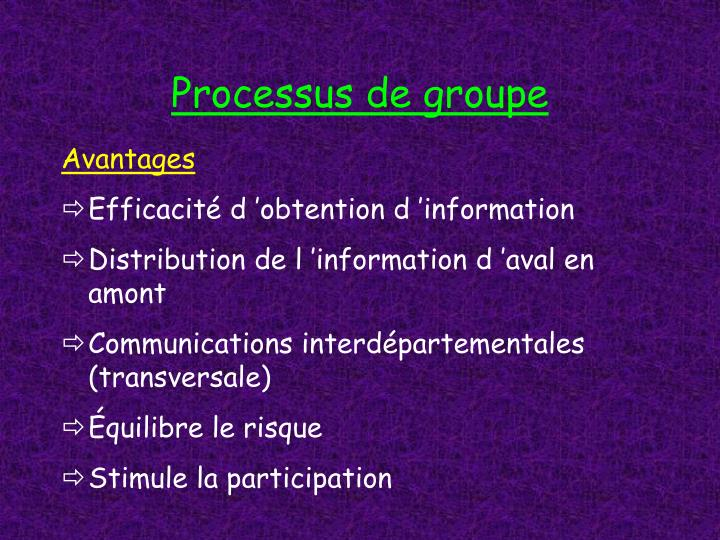 Processus de groupe