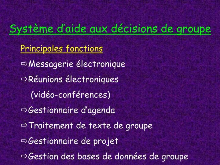 Système d'aide aux décisions de groupe