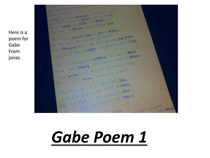 Here is a poem for Gabe