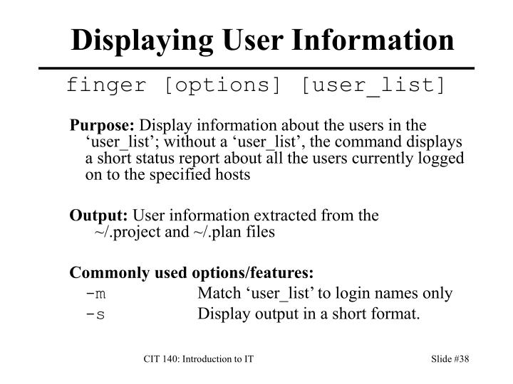 Displaying User Information