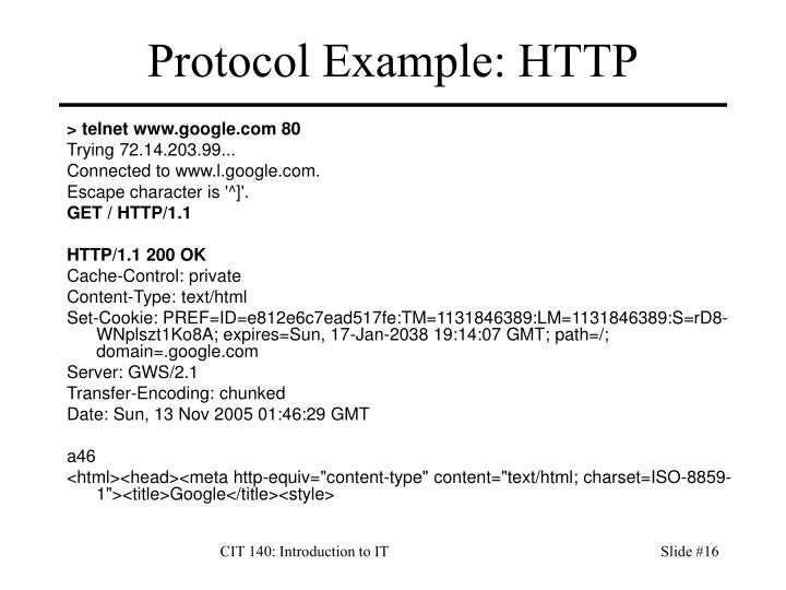 Protocol Example: HTTP