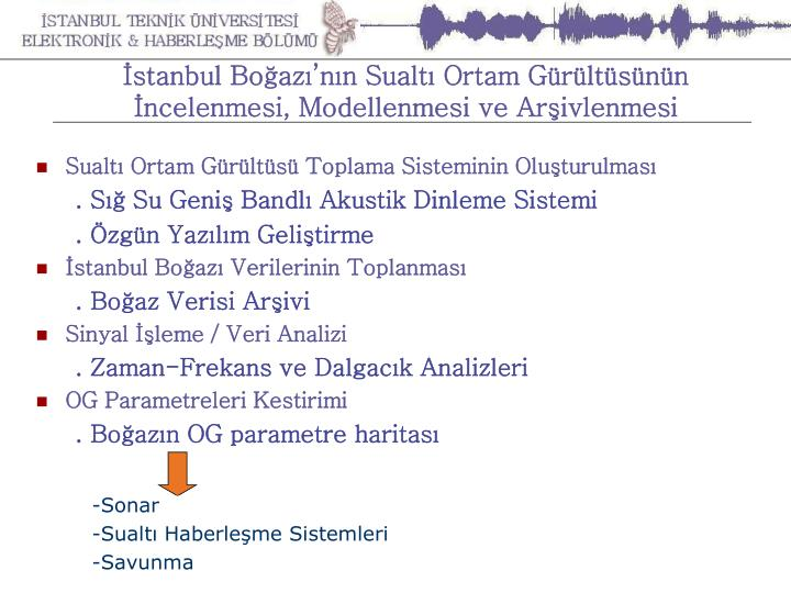 İstanbul Boğazı'nın Sualtı Ortam Gürültüsünün İncelenmesi, Modellenmesi ve Arşivlenmesi