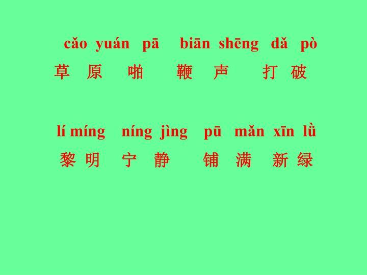 cǎo  yuán   pā     biān  shēng   dǎ   pò