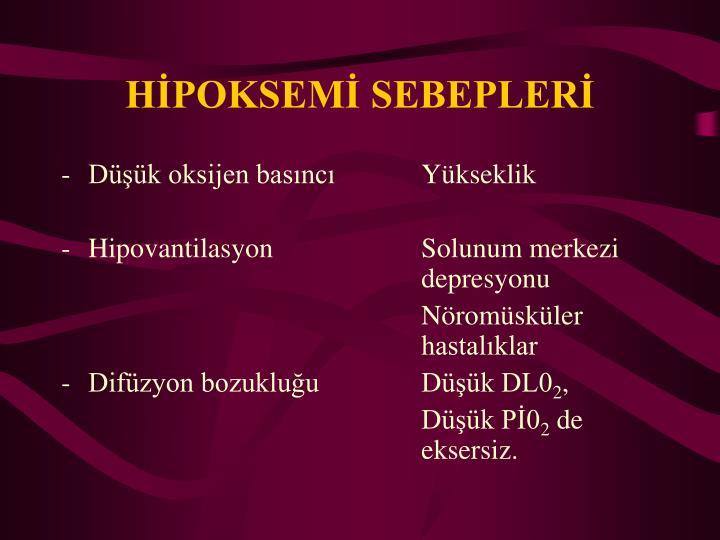 HİPOKSEMİ SEBEPLERİ