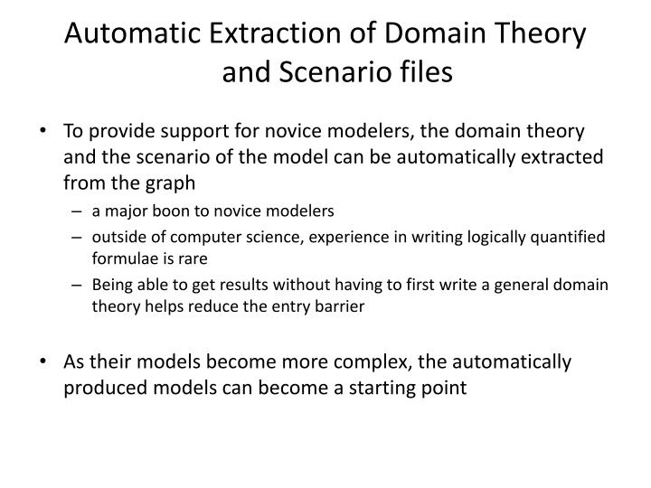 Automatic Extraction of Domain Theory and Scenario files