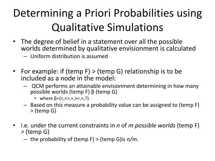 Determining a Priori Probabilities using Qualitative Simulations