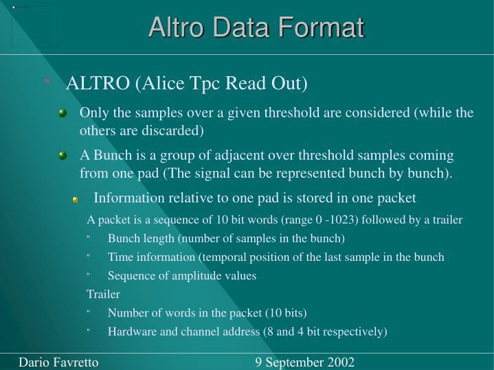 Altro Data Format