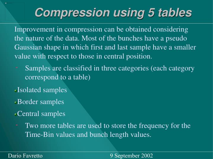 Compression using 5 tables