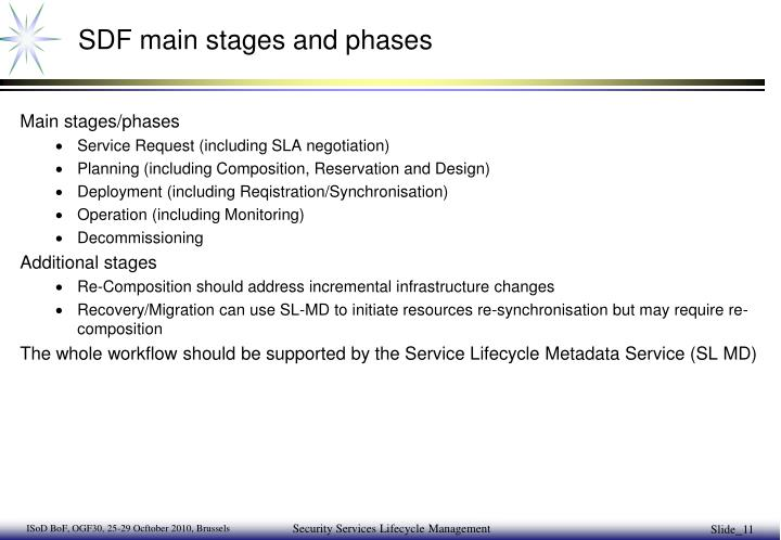 SDF main stages and phases