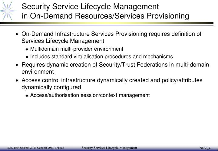 Security Service Lifecycle Management