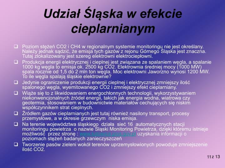 Udział Śląska w efekcie cieplarnianym