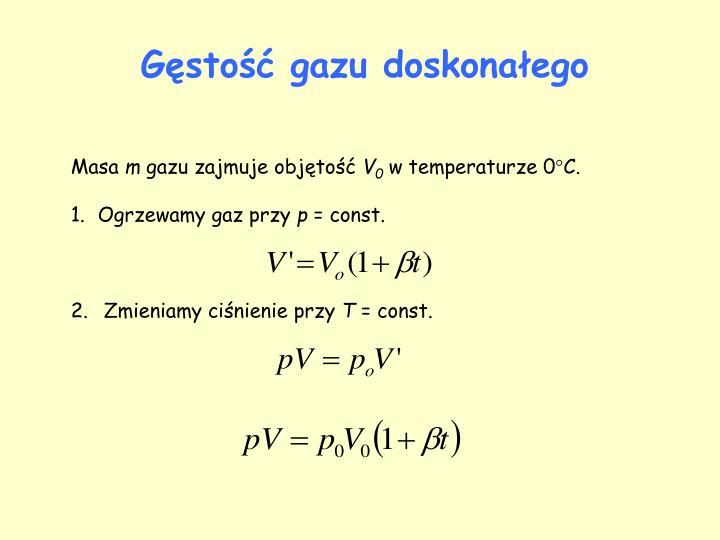 Gęstość gazu doskonałego