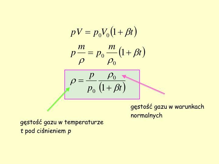gęstość gazu w warunkach