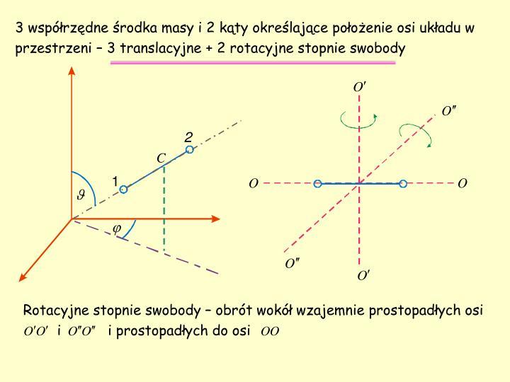 3 współrzędne środka masy i 2 kąty określające położenie osi układu w przestrzeni – 3 translacyjne + 2 rotacyjne stopnie swobody