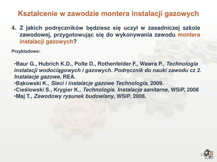 Kształcenie w zawodzie montera instalacji gazowych