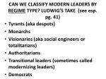 can we classify modern leaders by regime type ludwig s take see esp pg 41
