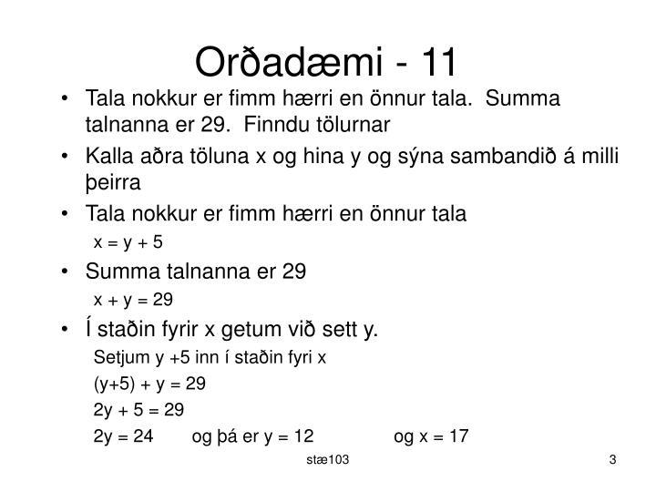 Orðadæmi - 11