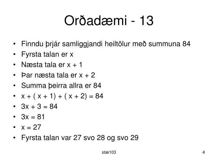 Orðadæmi - 13