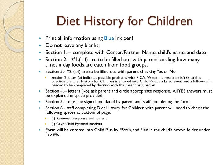 Diet History, Your