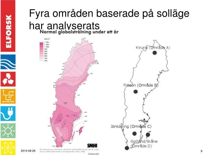 Fyra områden baserade på solläge har analyserats