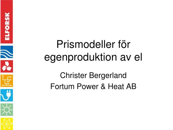 Prismodeller för egenproduktion av el