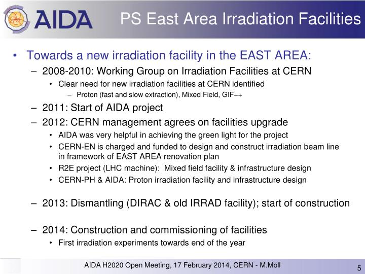 PS East Area Irradiation