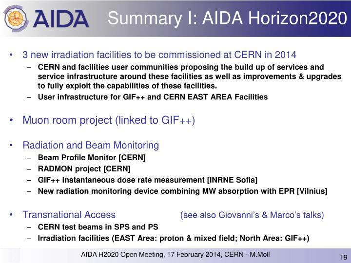 Summary I: AIDA Horizon2020