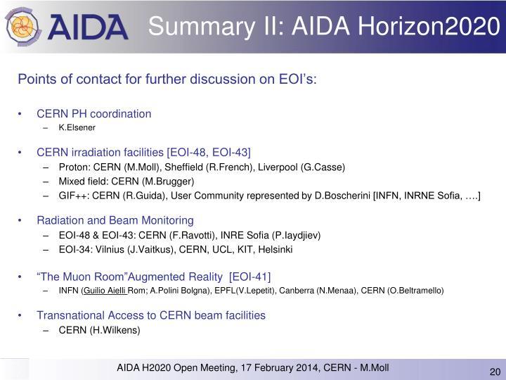 Summary II: AIDA Horizon2020