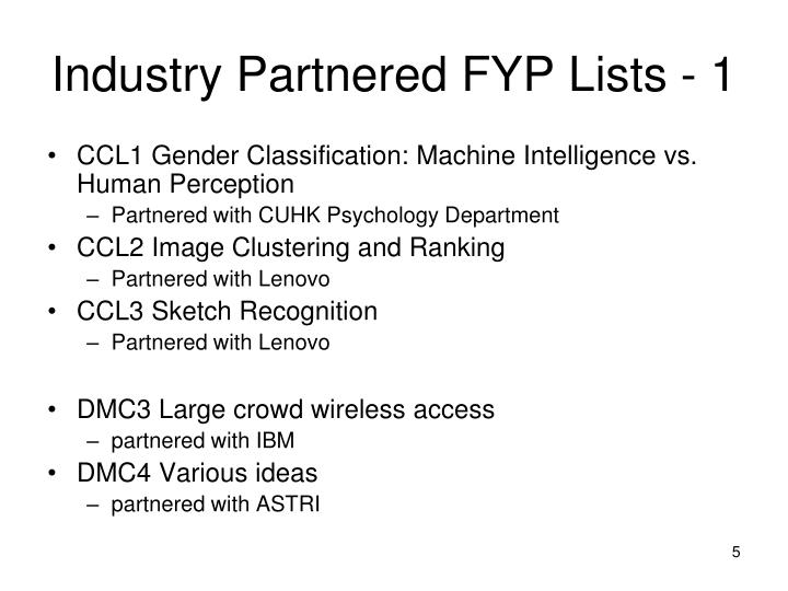 Industry Partnered FYP Lists - 1