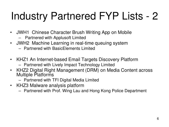 Industry Partnered FYP Lists - 2