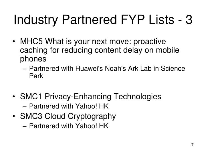 Industry Partnered FYP Lists - 3