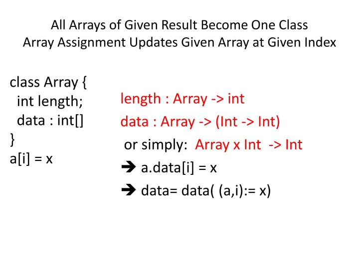All arrays of given result become one class array assignment updates given array at given index