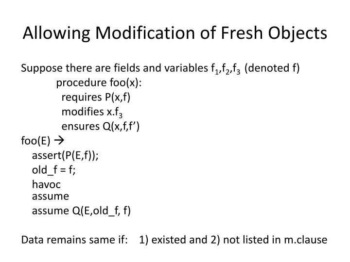 Allowing Modification of Fresh Objects