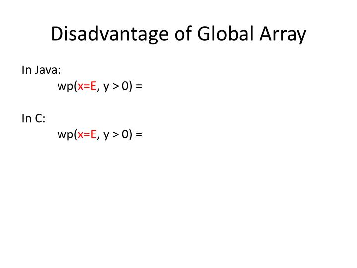Disadvantage of Global Array